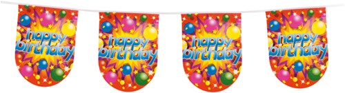 Vlaglijn Party Balls Happy Birthday Halfrond (6m)