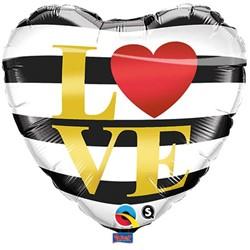 Folieballon Zwart-Wit Gestreept Hartje LOVE (46cm)