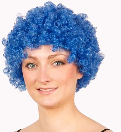 Pruik Afro Klein Blauw
