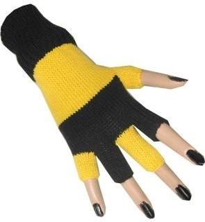 Vingerloze Handschoenen Zwart/Geel