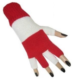 Vingerloze Handschoenen Rood/Wit