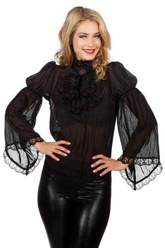 Luxe Piratenblouse Zwart voor dames