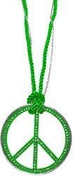 Peace Ketting Groot Neon Groen + Strass