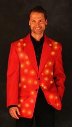 Heren Glitter Colbert Rood met LED-verlichting