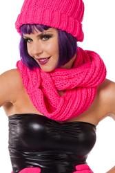 Gebreide Sjaal Rond Neon Pink