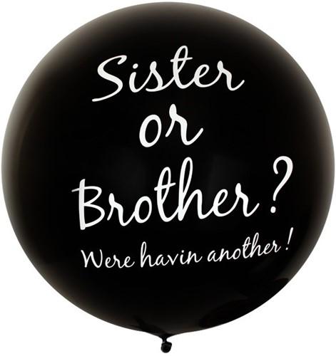 Megaballon Zwart Brother or Sister? (90cm)