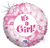 Folieballon It's a Girl Footprints 46cm