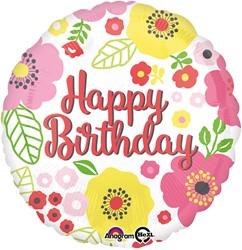 Folieballon Happy Birthday Bloemen (43cm)
