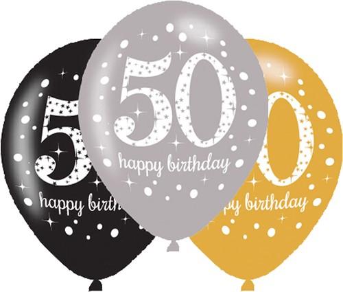 Ballonnen 50 Sparkling Celebrations Silver & Gold (6st.)