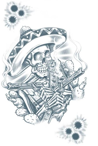 Tattoo Mexicaanse Bandito Skelleton-2
