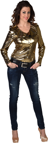 Dames Blouse Folie Metallic Goud