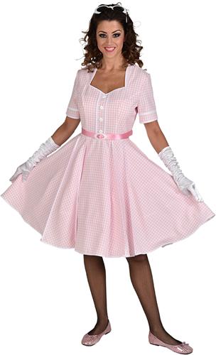 Rock 'n Roll Jurk Roze-Wit voor dames - Jaren 50