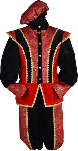 Pietenpak Pedro Fluweel Luxe Rood-Zwart