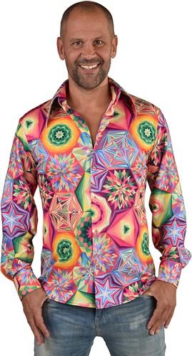 Heren Disco Seventies Shirt Caleidoscoop