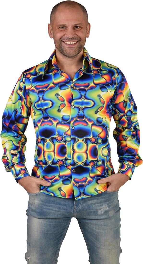 Heren Disco Blouse Seventies Groovy Cirkels Blauw