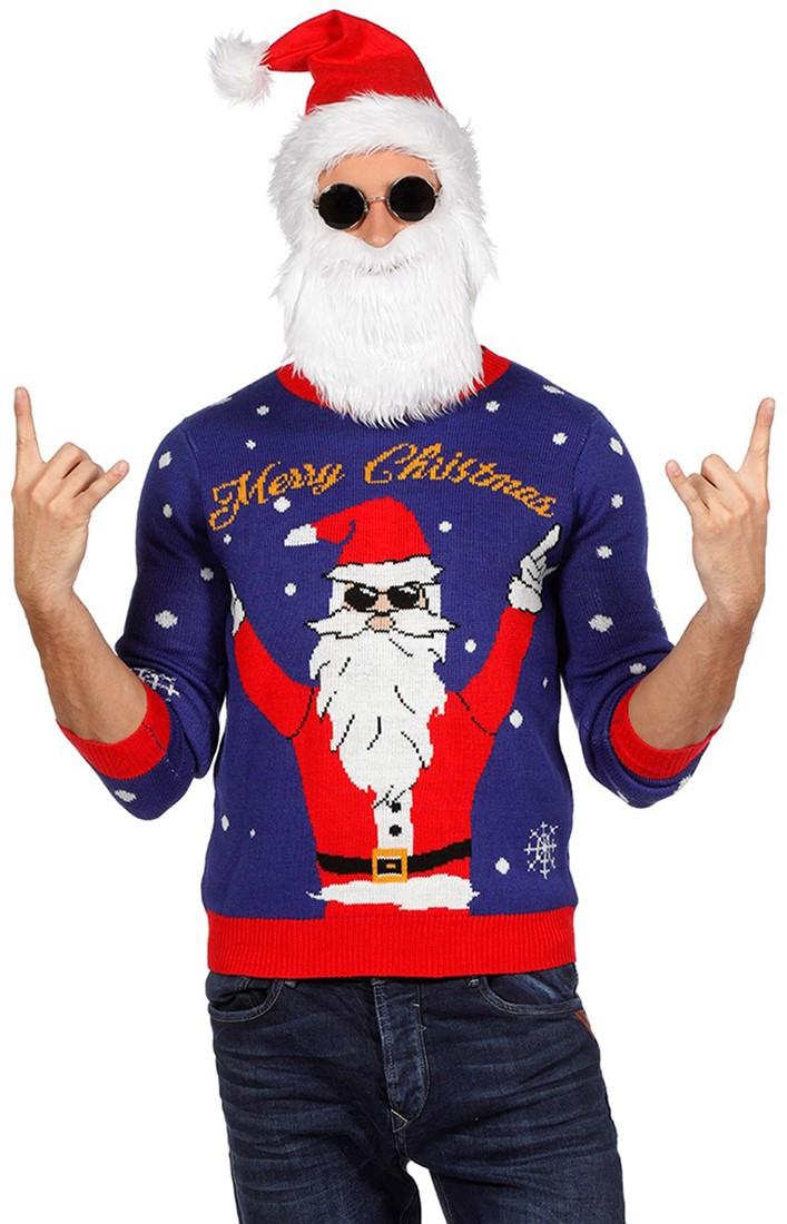Kersttrui Vandaag Besteld Morgen In Huis.Kersttrui Blauw Met Rocking Santa