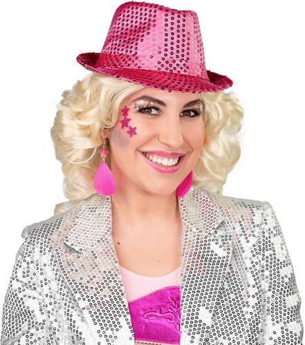 Hoed Popstar Pailletten Pink
