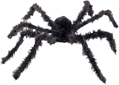 Grote Harige Spin Zwart met LED-ogen (102cm)