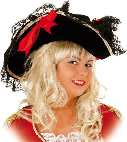 Piratenhoed Piratenbruid Zwart Luxe