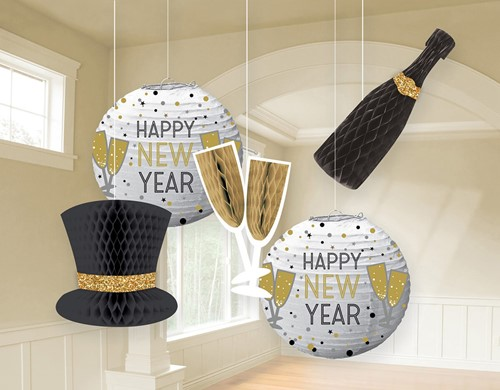 Hangdecoratie Happy New Year Luxe - 5st.