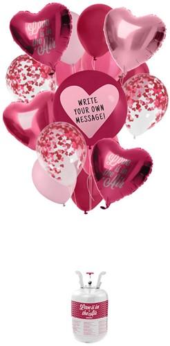 Helium Tank Set Hartjes Love (17 delig)