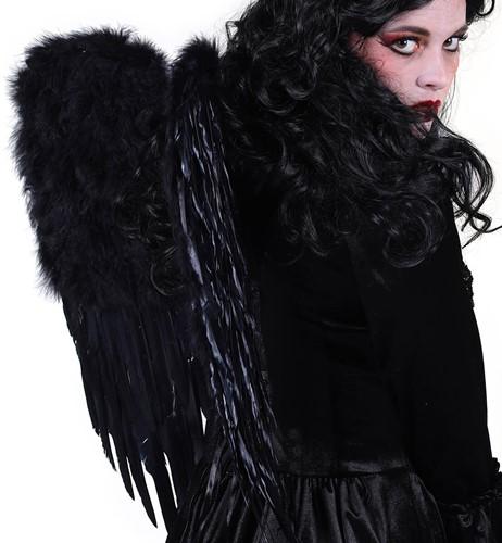 Engelen Vleugels Zwart met Marabou Luxe (50x60cm)