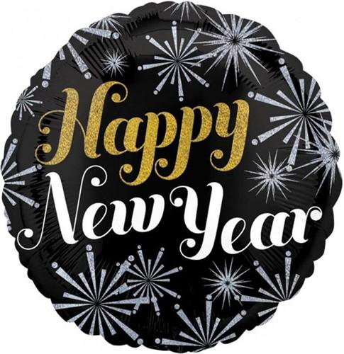 Folieballon Happy New Year Fireworks (43cm)