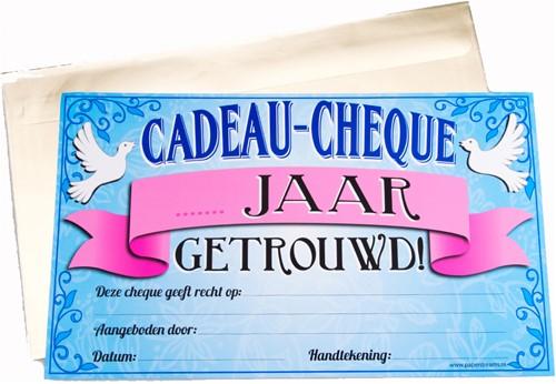 Cadeau Cheque ... Jaar Getrouwd
