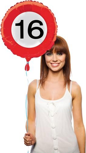Folieballon 16 jaar Verkeersbord