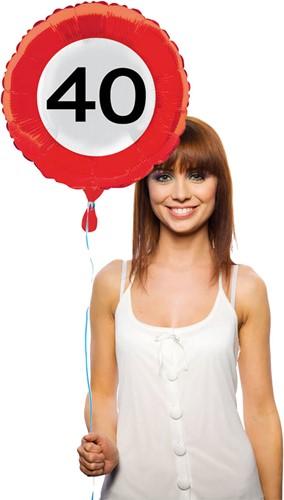 Folieballon 40 jaar Verkeersbord