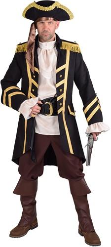 Luxe Heren Piratenjas Wool-like Zwart-Goud Luxe