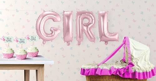 Folie Ballonnenset GIRL (Roze - 36cm)