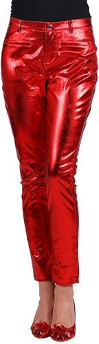 Dames Stretchbroek Metallic Rood