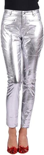 Dames Stretchbroek Metallic Zilver