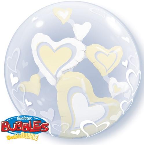 Double Bubble Ballon Hearts Ivory