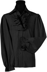 Herenblouse met Jabot Zwart Luxe