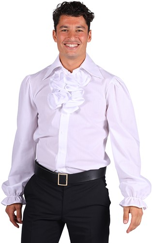 Herenblouse met Jabot Wit Luxe