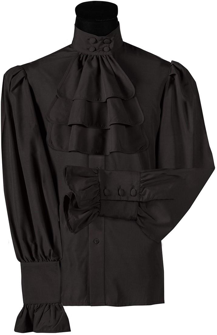 ee0f54d74b3 Blouse met Jabot Zwart Luxe voor heren