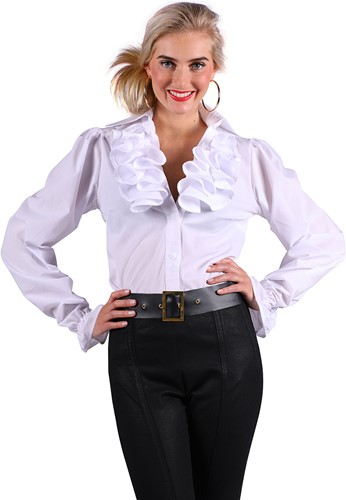 Damesblouse met Jabot Wit Luxe