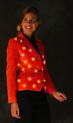 Dames Glitter Colbert Rood met LED-verlichting