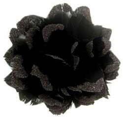 Bloem Zwart met Glitter aan IJzerdraad