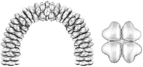 Cluster Folieballonnen Hartjes Zilver 10st.