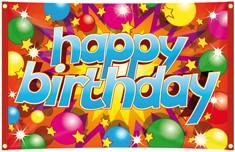 Vlag Happy Birthday 90X60CM