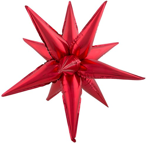 Folieballon Exploding Star Rood (67x20cm)