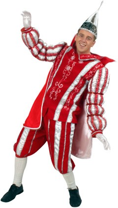 Kostuum Prins Carnaval 3 dlg. Rood