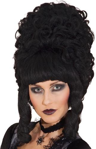 Pruik Lady Pompadur Luxe Zwart