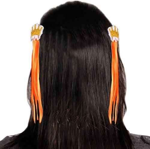 Haarclip Oranje met Kroon