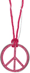 Peace Ketting Groot Pink + Strass