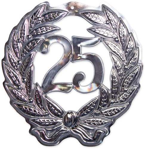 Wanddecoratie Krans 25 jaar Zilver (42x45cm)