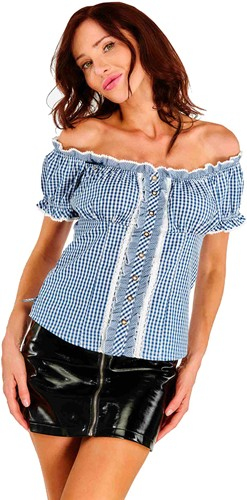 Tiroler Dames Blouse Resi Blauw-Wit
